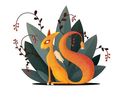 Little Beast digital art illustration animal art fantasy gradient magic