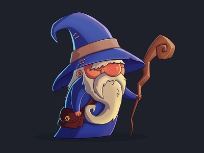 Wizard character game art magician staff wizard mage game illustration