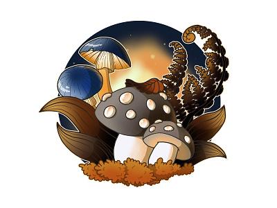 Mushrooms drawing magic leaves plants nature mushrooms illustration