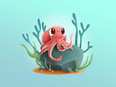 Octopus cute cartoon ocean sea underwater octopus digital art illustration