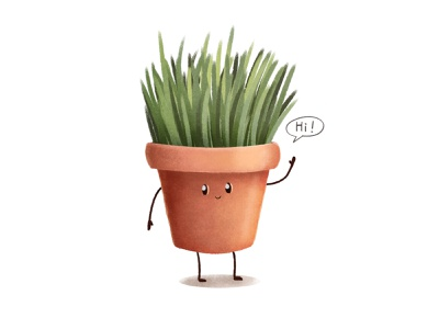 Flowerpot character hi grass flowerpot cute digital art illustration