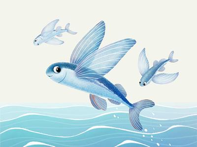 Flying fish draw flying fish sky waves nature ocean sea cute art digital art illustration