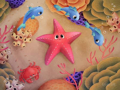 Starfish sand animals digital corals coral reef fish crab marine childrens illustration water sea star starfish character cartoon underwater nature sea ocean cute illustration
