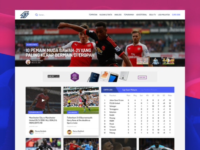 Semuanya BOLA hero image card landing page user interface ui website news blog soccer football