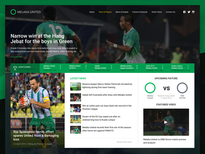 Melaka United Landing Page ui website landing page user interface green football