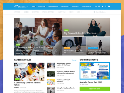 Graduan Homepage concept articles graduate career landing page website ui user interface