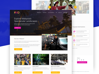 Film In Malaysia Homepage film scenery hero image cta ux landing page website user interface ui