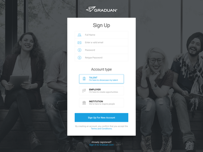 Graduan Sign Up From career employer ui user interface form registration signup