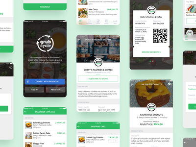 Grub Cycle App cafe shop login checkout cart qr code barcode app user interface ui food app
