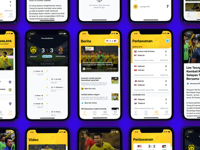 🐯 Harimau Malaya Mobile App timeline articles score goal sports soccer football player app ux ui user interface mobile ui mobile app
