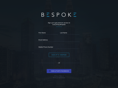 Bespoke Login/Register landing page website user interface dashboard register login