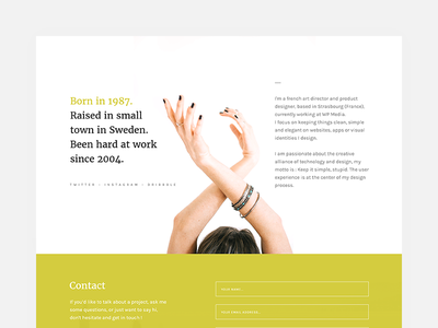 Amory - Contacts Page portfolio profile theme product landing minimalistic light clean ui contacts
