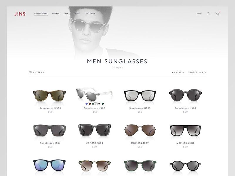 6d95390e5a6b JINS - Eyewear ecommerce white glasses minimalistic minimal landing eyewear  design clean store