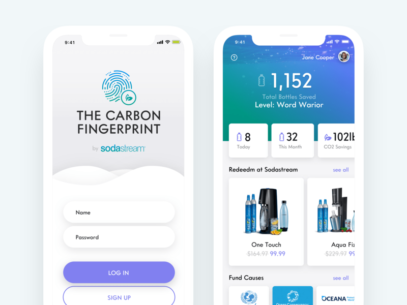 Carbon Fingerprint - Concept mobile mobile app clean white apple application ui application ios app