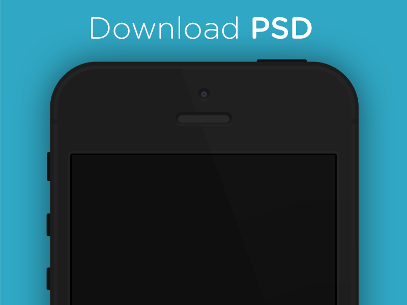 Flat iPhone 5 Black & White - PSD flat design ui template mockup iphone 5 black white minimalistic