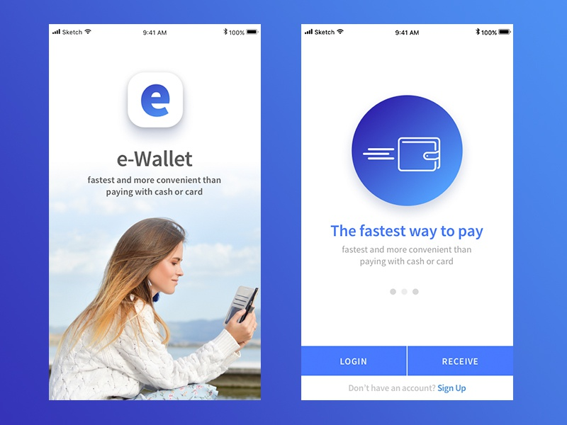 Ewallet app design. login screen wallet app mobile