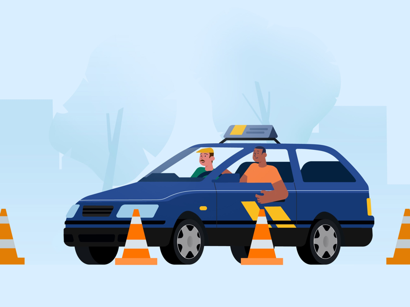 Car Course blue car rental young boy happily drive driving school car course flat illustration character car