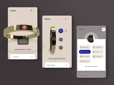 Connect and Set Up  ●  Conni, the Smart Bracelet internetofthings setup connect smartjewelry wearable user interface ui app ux