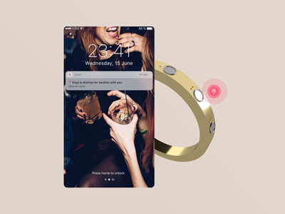 Share your location ● Conni, the Smart Bracelet userinterface ux wearable dimension safety fashion smartbracelet smartjewelry mobile concept ideas internetofthings connect app