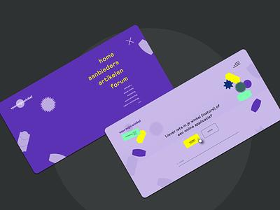 Homepage module / menu layover ● Voor Mijn Winkel branding identity technology platform test tags purple bright colors homepage quiz retail stickers menu design menu ux website webdesign