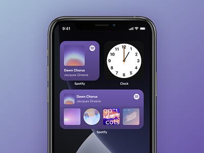 Spotify iOS 14 widgets mobile interface design minimal clean app spotify widget ios ui