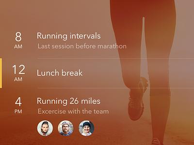 Running Activities app ui design ios ios app interface iphone fitness running weather calendar ux
