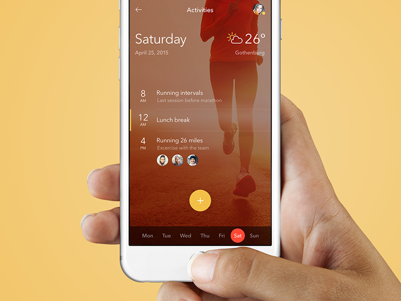 Running Activities app ui design ios ios app interface iphone fitness running weather calendar ux