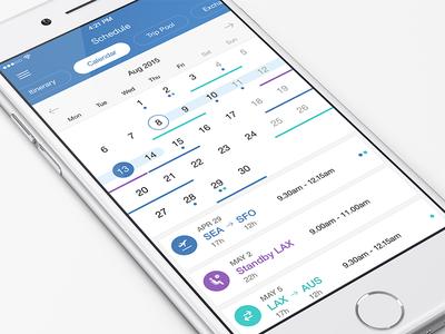 Flight Crew Calendar user clean minimal calendar flight design mobile ios app ios interface app ui