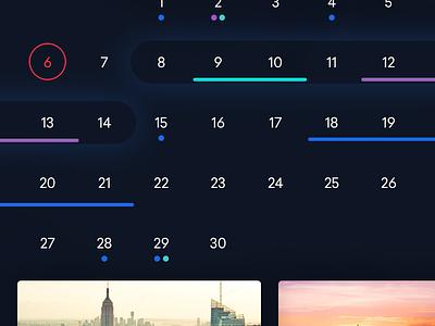 Flight Calendar Dark UI cards ui app interface ios ios app mobile design flight calendar minimal clean