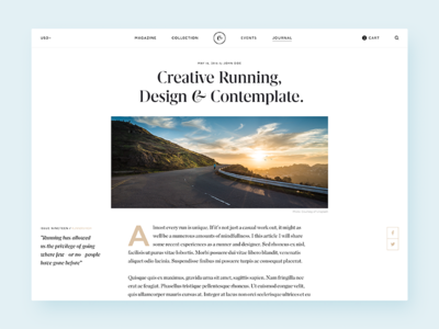 Running Journal typography running magazine layout minimal sketch article blog ui clean