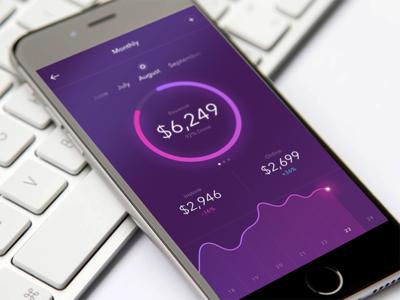 Monthly Goals payment goals purple analytics ux ui graph gradient concept colors app