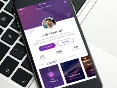 Music Profile shopping download freebie ui sketch pattern clean app player music profile user