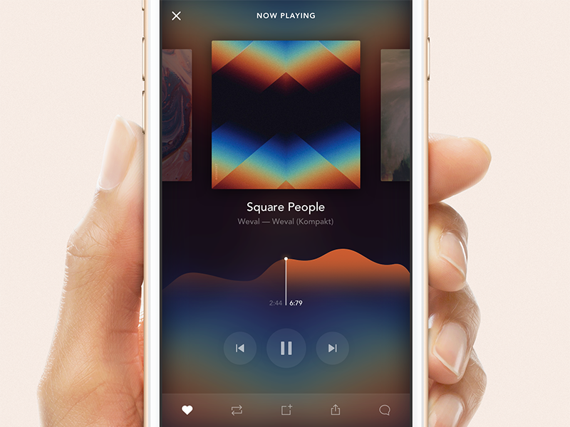 SoundCloud Player app clean graph sketch ui freebie download streaming soundcloud player audio music