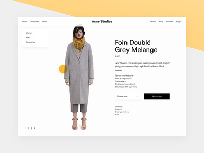 Acne Product Card image store interface acne fashion app clean minimal e-commerce shop cart product