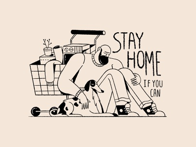 Stay home dog drawing stayhome design character illustration
