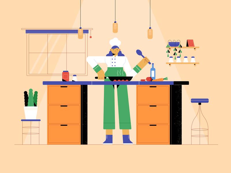 kitchen motion flat design animation character vector illustration