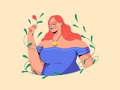 Flowers procreate power woman flower illustration draw flower design illustration