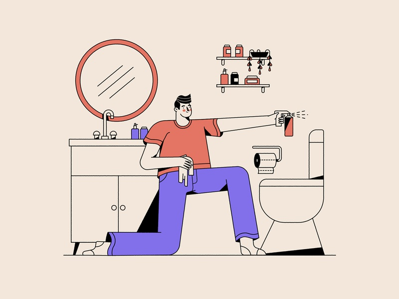 bathroom animation flat design character vector illustration
