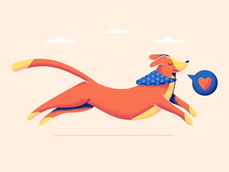 Dog love dog design illustration vector