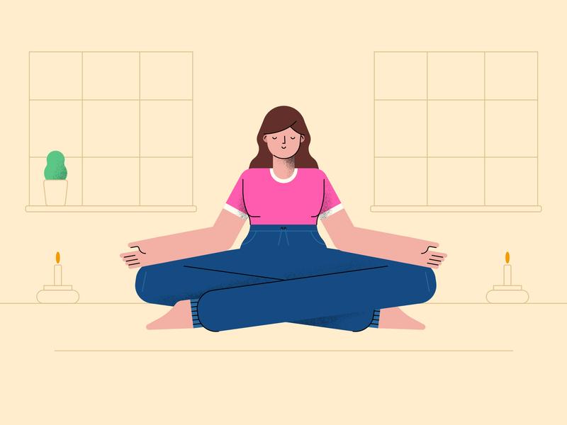 Woman meditating design flat illustration character vector