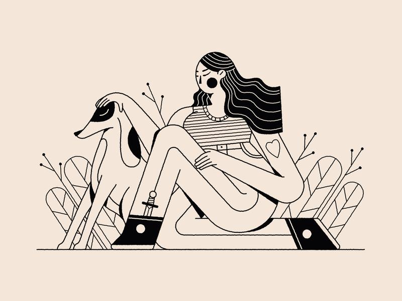 True love dog adobe flat animation design character vector illustration