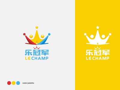 LeChamp - Branding star kid children yellow blue red crown champion sport chinese visual vi logo branding