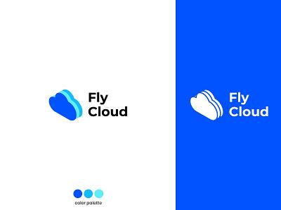 FlyCloud - Branding modern clean logotype blue cloud logodesign branding logo