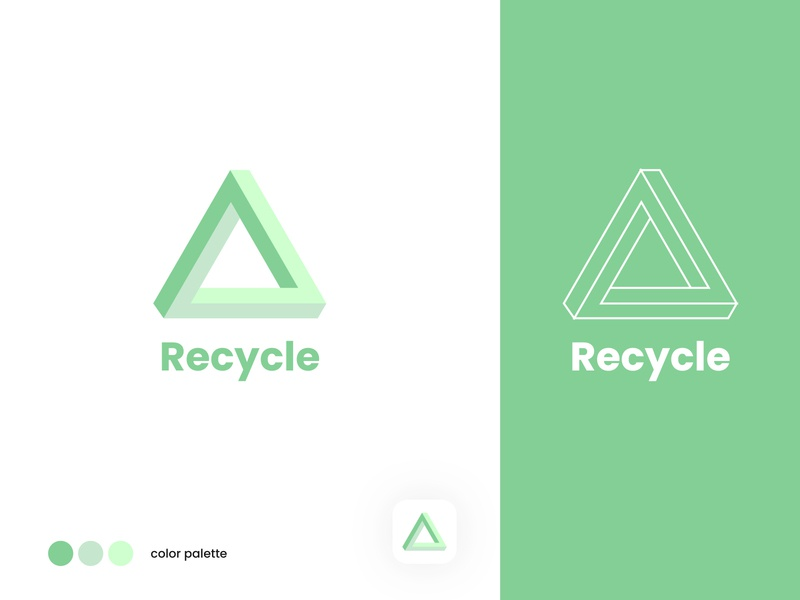 Recycle - Branding design illustration app icon identity dailyui clean triangle recycle branding logo