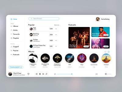 Music Player Light Mode - UI dailyui music player light mode white concept app ui