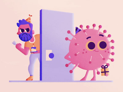 Unwanted Visitor 2d animation motion graphics character animation after effects birthday party door shotgun cake house house party party present virus birthday corona virus coronavirus corona