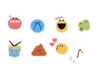 Emoji Set 2d animation after effects emoji set crack whip heart kiss love poo drumroll fart laugh sad cry angry poop app emojis emoji