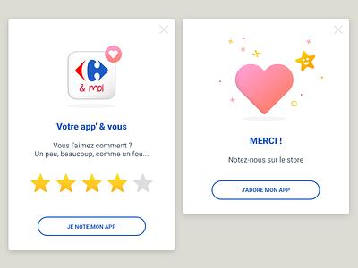 Rating popin feedback stars heart icon rating app