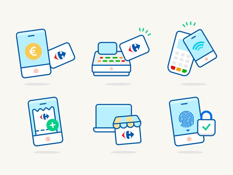 E-commerce assets card checkout cash register carrefour laptop e commerce store fingerprint loyalty card cashier pay phone app
