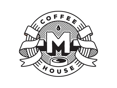 -M- Coffee House (1/2) café emblem mark letter logotype design langlois house coffee logo